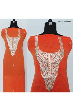 Fine Georgette Hand Embroidery Kurti Material