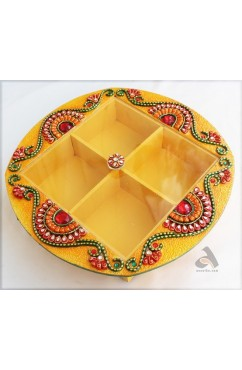 Handmade Papermache Dry Fruit Box D Shape