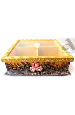 Handmade Papermache Dry Fruit Box 10x10 size Plain Top