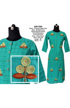 Straight Kurta with Floral Embroidery