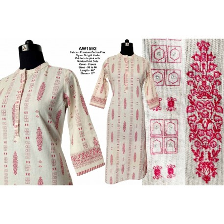 Pink & Golden Printed Cotton Kurti