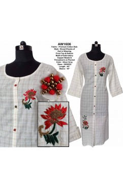Zari Weaving Cotton Slub Embroidered Kurta