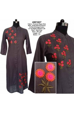 Embroidered Rayon Slub kurta