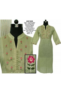 Golden Weaved Cotton Embroidered Kurta