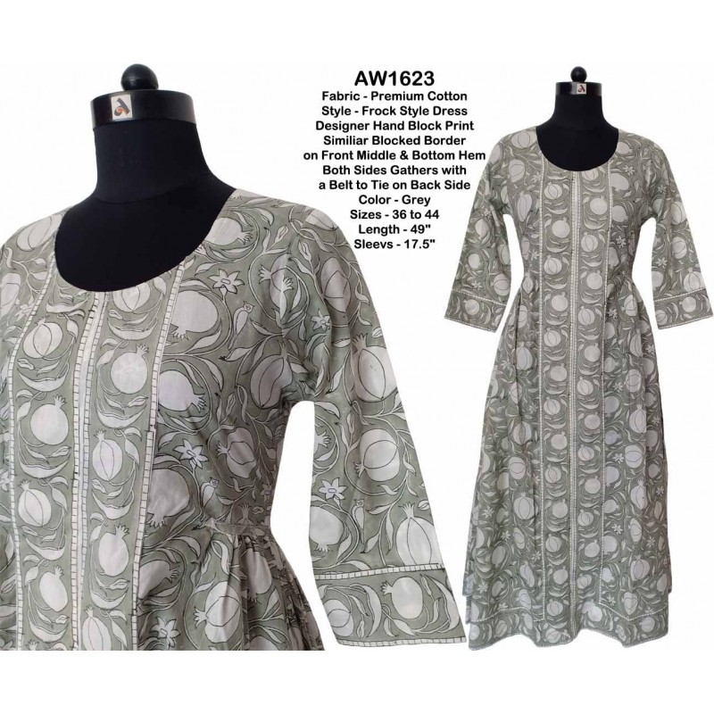 Hand Block Printed Frock Style Dress