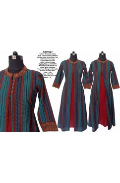 Cotton Hand Printed AJRAKH Double Layer Dress