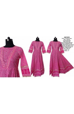 Cotton Lahariya Long Anarkali with 24 Kali Flair