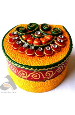 Handmade Papermache Ring Box D Shape
