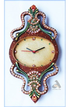 Handmade Papermache Oval Clock