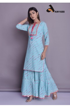 Lahariya Print Cotton Kurti & Sharara