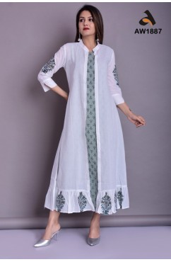 Long Sleeveless Inner with Handblock Mulmul Shrug