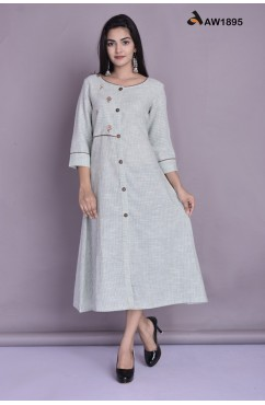 South Cotton Weaved Stripes A Line Kurta