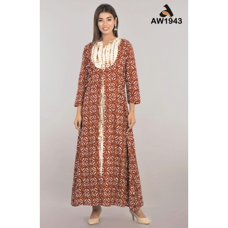 Ethnic Print Cotton 2 Pcs Dress