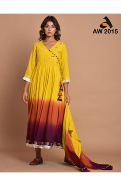 Fire Flames Shades Cotton Silk Long Dress With Stole