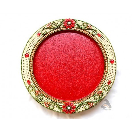 Papermache Pooja Plate Pearls design Round shape 18""