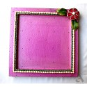 Papermache Pooja Plate Square Pearl Flower design