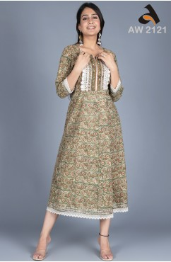 Hand Printed Paisley Frock Style Dress