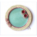 Papermache Pooja Plate Round Pearl design 9""
