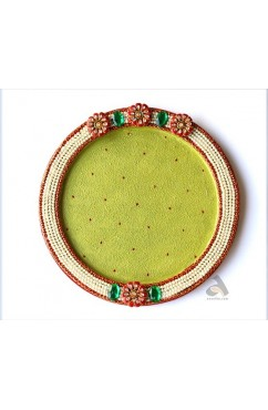 Papermache Pooja Plate Round Pearl design 12""