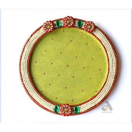 """Papermache Pooja Plate Round Pearl design 12"""""""