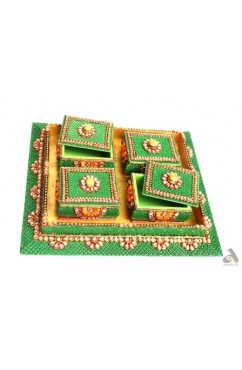 Handmade Papermache Tray with 4 Dry Fruit Boxes