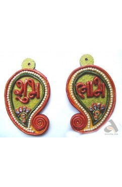Shubh-Labh Kairy shape with Pearls design Door Decor