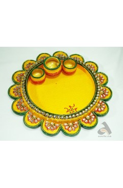 Papermache Pooja Plate Flower shape Big