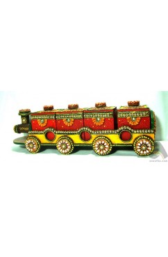Handmade Papermache Dry Fruit Box - Train of Four