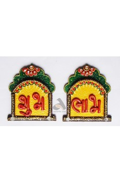 Papermache Shubh-Labh Jharokha shape Door Decor