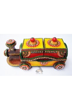 Handmade Papermache Dry Fruit Box - Train of Two