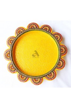 Papermache Pooja Plate Flower shape XL