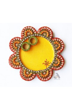 Papermache Pooja Plate Flower shape Small